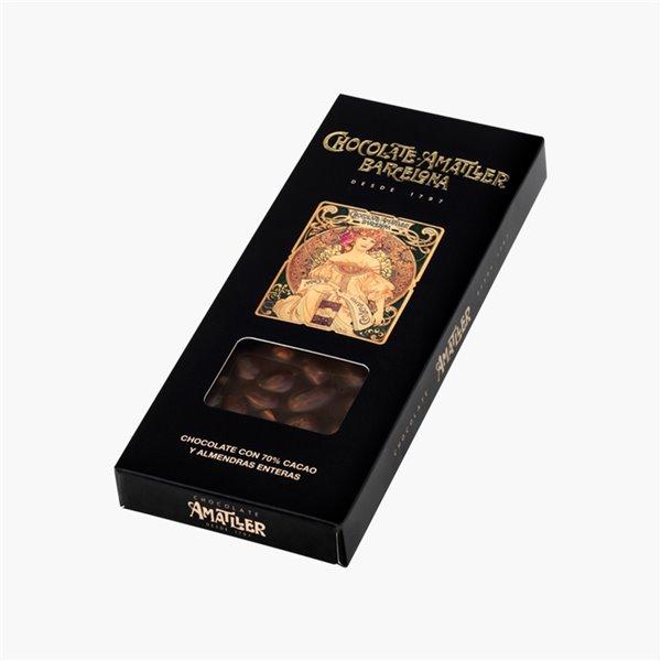 Chocolate 70% Cacao y Almendras enteras 250g Amatller