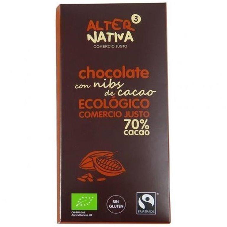 CHOCOLATE 70% CON NIBS DE CACAO S/G, 80 gr