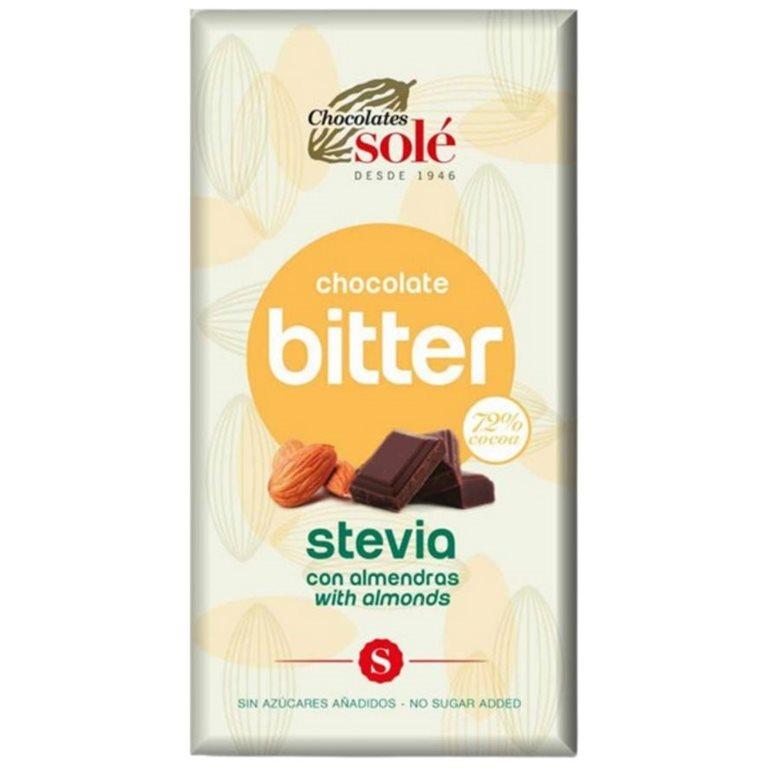 Chocolate 72% Cacao Bitter con Almendras y Stevia 100g