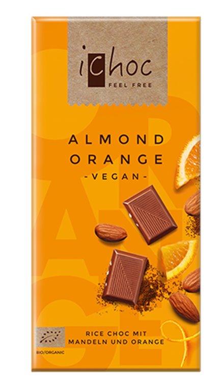 Chocolate almendra y naranja vegan, 80 gr