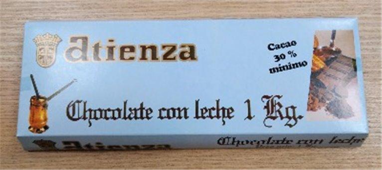 Chocolate con leche 1kg Atienza, 1 ud