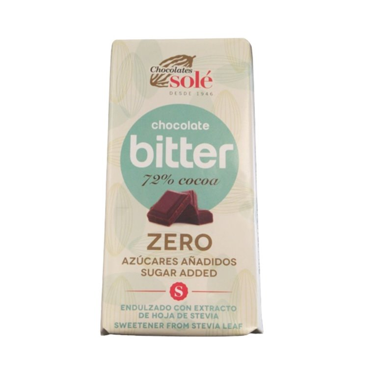 Chocolate Bitter 72% Cacao con Stevia 100g