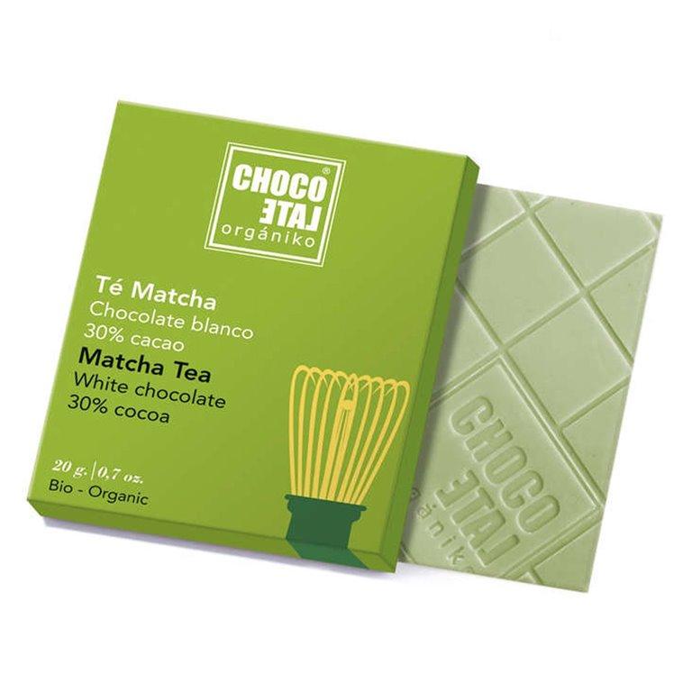 Chocolate Blanco 30% Cacao con Té Matcha 20g. Chocolate Orgániko. 18un., 1 ud