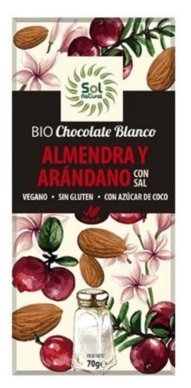 Chocolate Blanco con Almendra y Arándanos Bio 70g