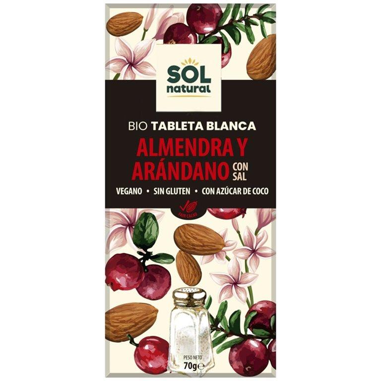 Chocolate Blanco con Almendras y Arándanos Bio 70g