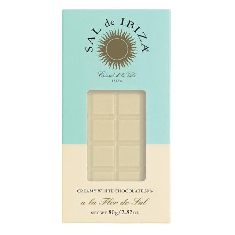 Chocolate Blanco con Flor de Sal Bio 80gr. Sal de Ibiza. 12un., 1 ud