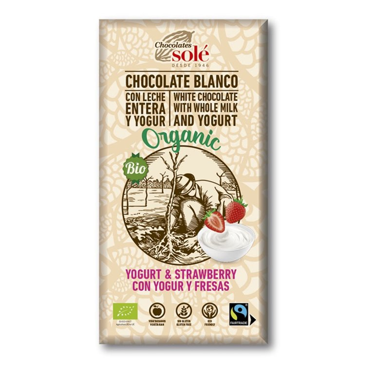 White Chocolate with Yoghurt and Strawberries Bio 100g