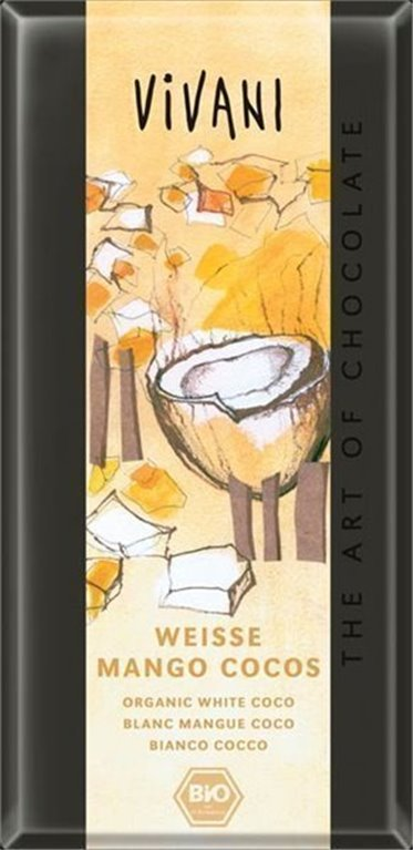 Chocolate blanco mango-coco, 100 gr