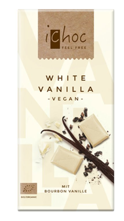 Chocolate blanco vainilla vegan, 80 gr