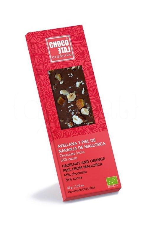 Chocolate con Leche 36% Cacao con Avellana y Piel de Naranja de Mallorca 50g. Chocolate Orgániko. 10un., 1 ud