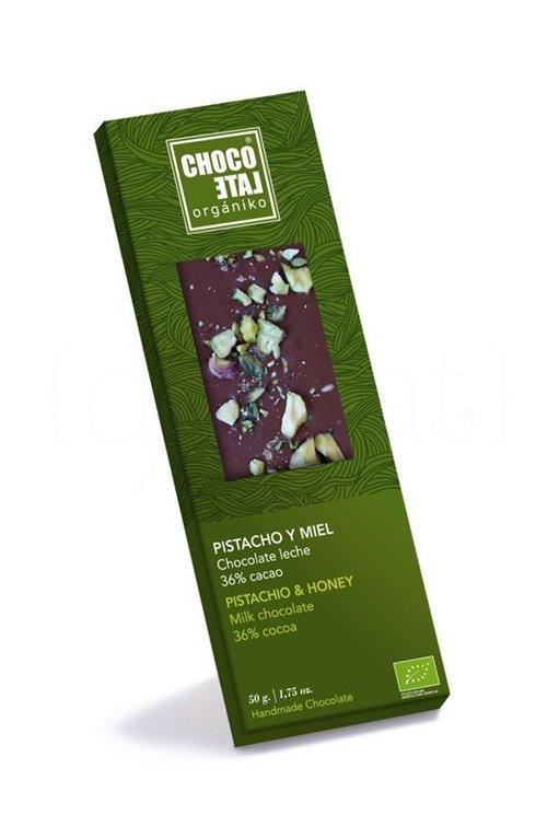 Chocolate con Leche 36% Cacao con Pistacho y Miel. 50g. Chocolate Orgániko. 10un., 1 ud