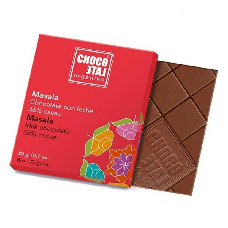 Chocolate con Leche 36% Cacao Masala 20g. Chocolate Orgániko. 18un., 1 ud