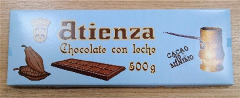 Chocolate con leche 500grs Atienza, 1 ud