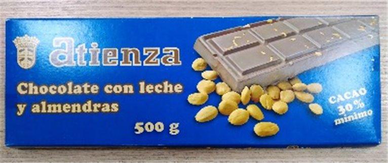 Chocolate con leche y almendras 500grs Atienza, 1 ud
