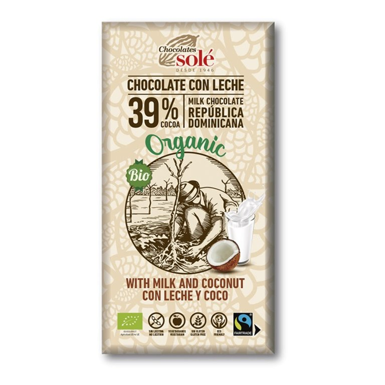 Chocolate con Leche y Coco Bio Fairtrade 100g