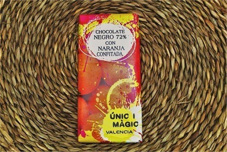 Chocolate con naranja confitada