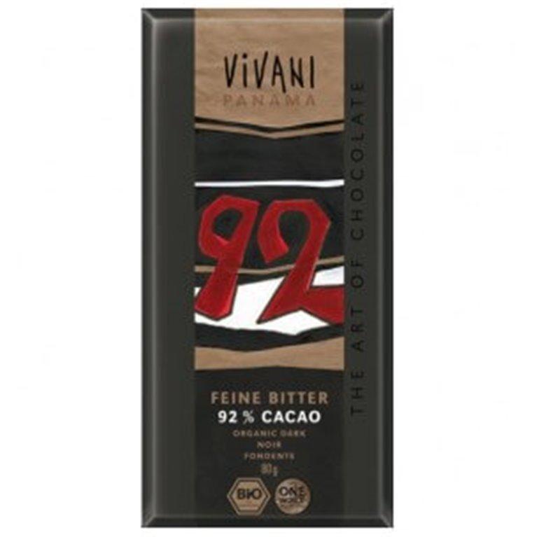 Chocolate Ecológico Negro 92% Cacao, 80 gr