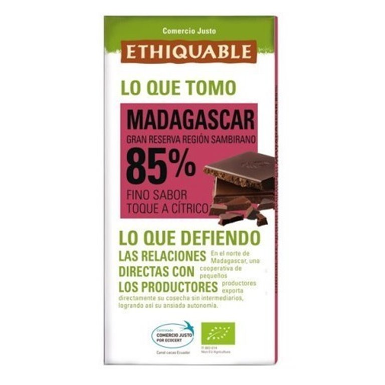 Chocolate Extra Negro 85% Cacao Madagascar Bio Fairtrade 100g