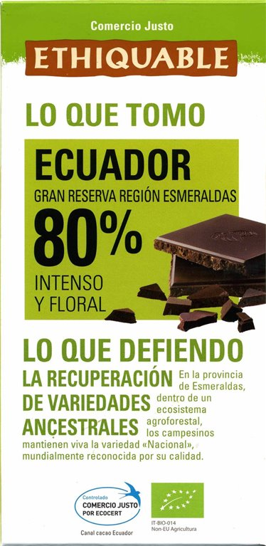 Chocolate Extra Negro Ecuador 80% Cacao Bio Fairtrade 100g