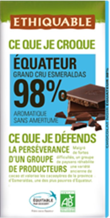 Chocolate Extra Negro Ecuador 98% Cacao Bio Fairtrade 100g