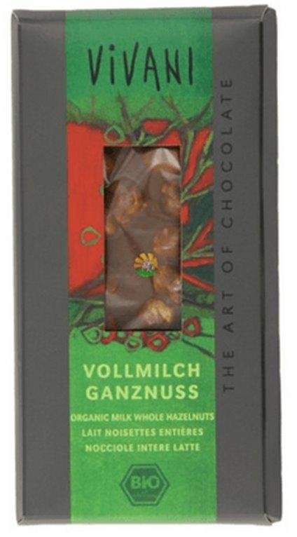 Chocolate leche y avellanas enteras, 100 gr