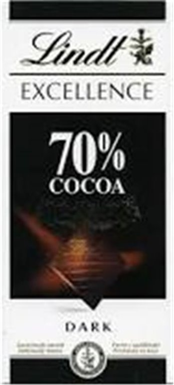 Chocolate Lindt 70% cacao (100 gr, fuerte y equilibrado)