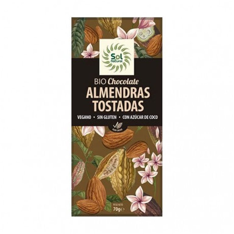 Chocolate Negro 43% Cacao con Almendras Tostadas Bio 70g