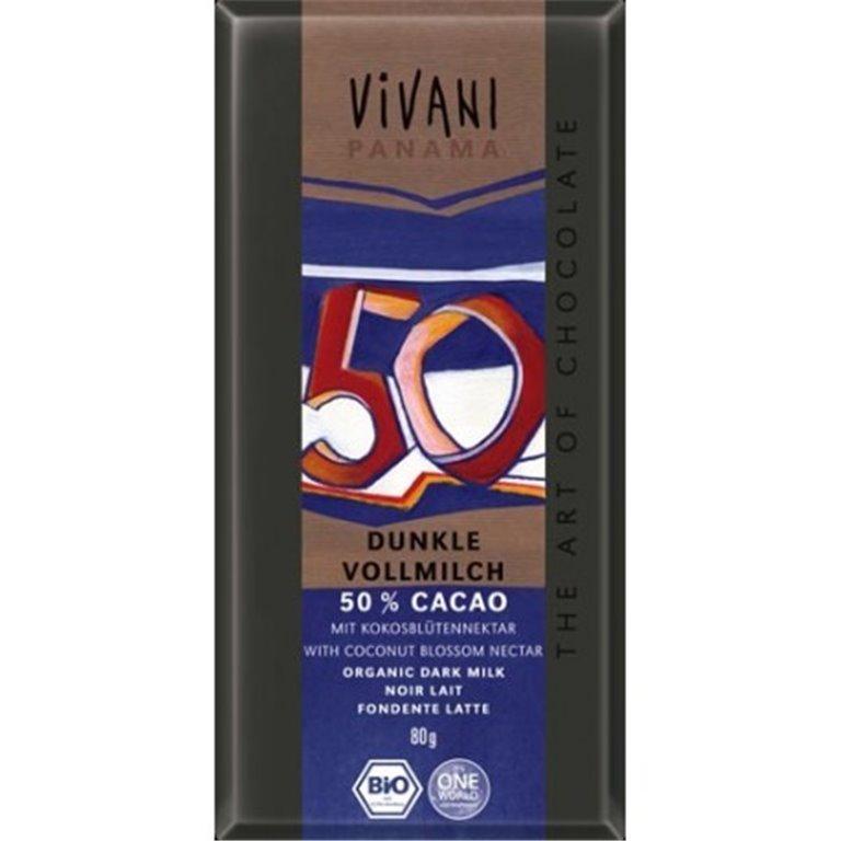 Chocolate Negro 50% Con Leche Y Azucar De Coco glaseado