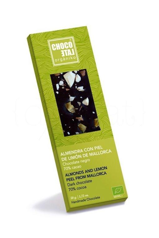 Chocolate Negro 70% Cacao con Almendra y Piel de Limón de Mallorca 50g. Chocolate Orgániko. 10un., 1 ud
