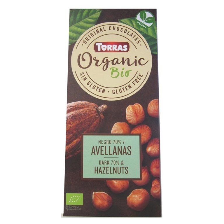 Chocolate Negro 70% Cacao con Avellanas Bio 100g