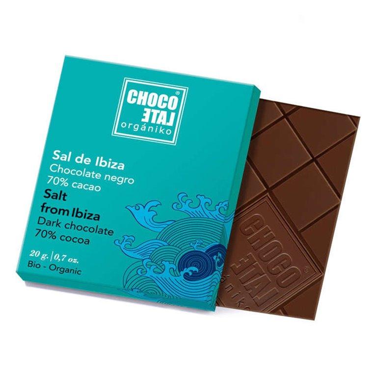 Chocolate Negro 70% Cacao con Flor de Sal de Ibiza 20g. Chocolate Orgániko. 18un., 1 ud