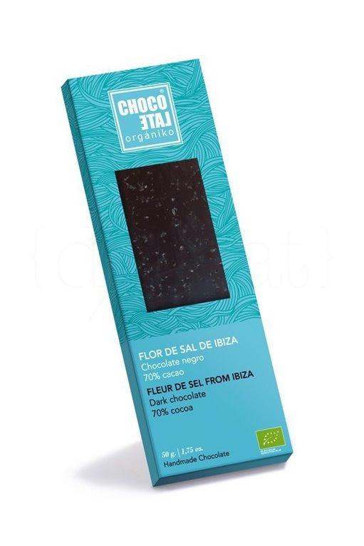Chocolate Negro 70% Cacao con Flor de Sal de Ibiza 50g. Chocolate Orgániko. 10un., 1 ud
