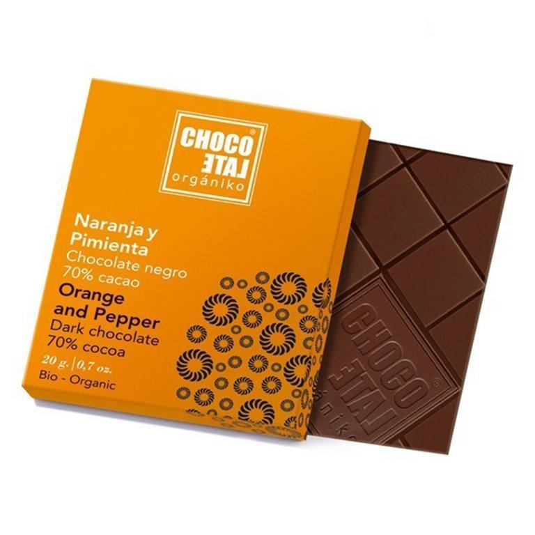 Chocolate Negro 70% Cacao con Pimienta Negra y Naranja 20g. Chocolate Orgániko. 18un., 1 ud