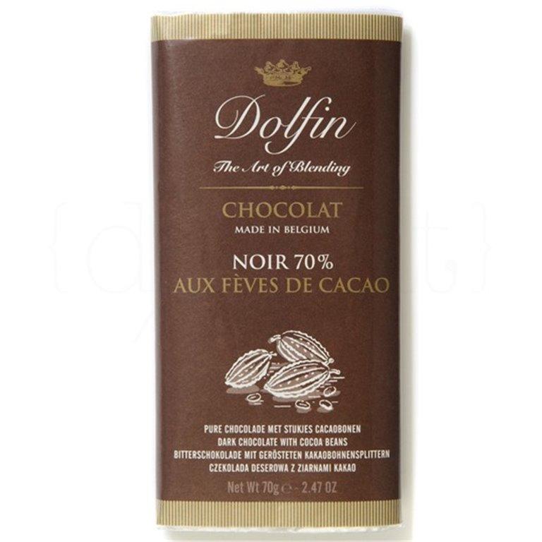 Chocolate Negro 70% con trozos de Cacao 70gr. Dolfin. 15un., 1 ud