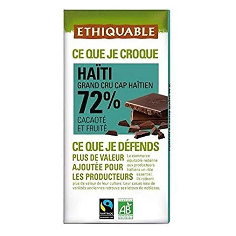 Chocolate Negro 72% Cacao Haití Bio Fairtrade 100g