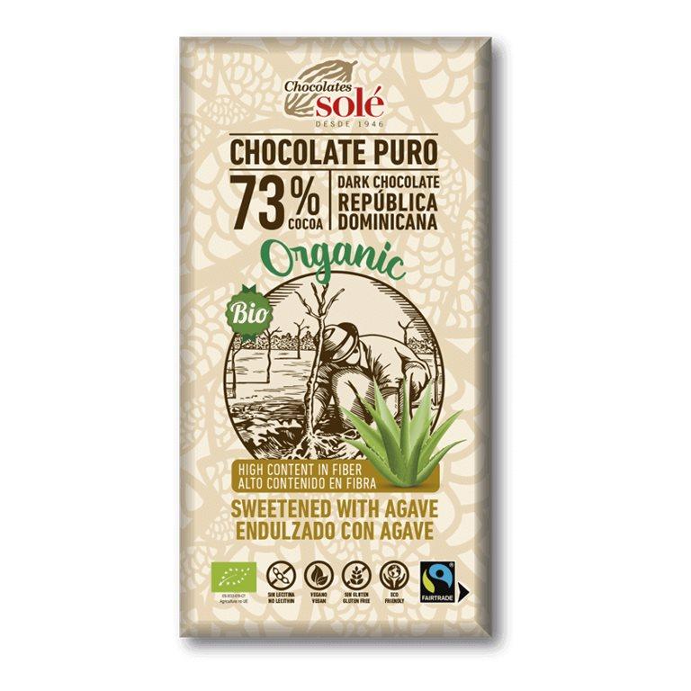 Chocolate Negro 73% Cacao con Agave BIO