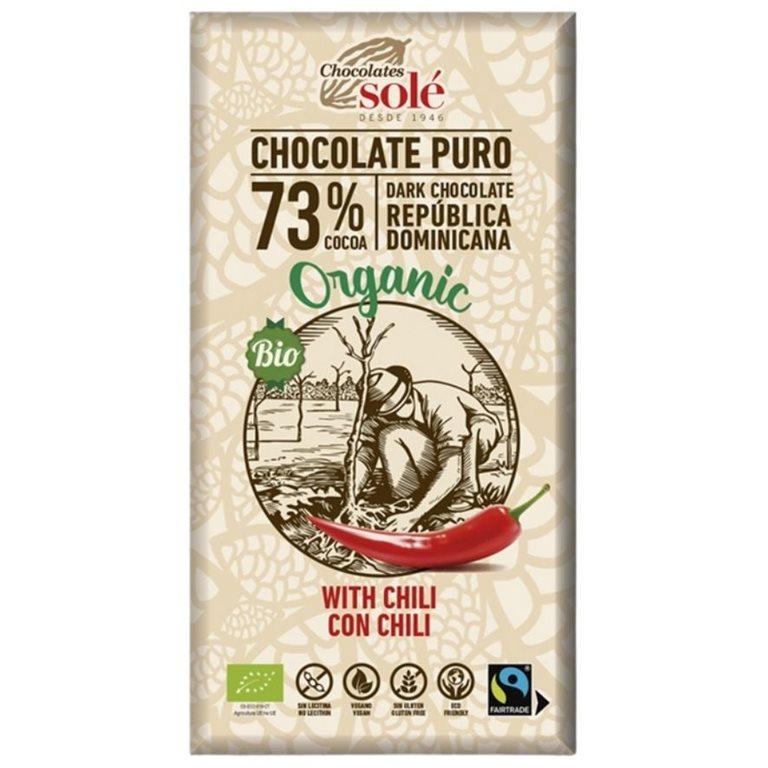 Dark Chocolate 73% Cocoa with Chili Bio 100g