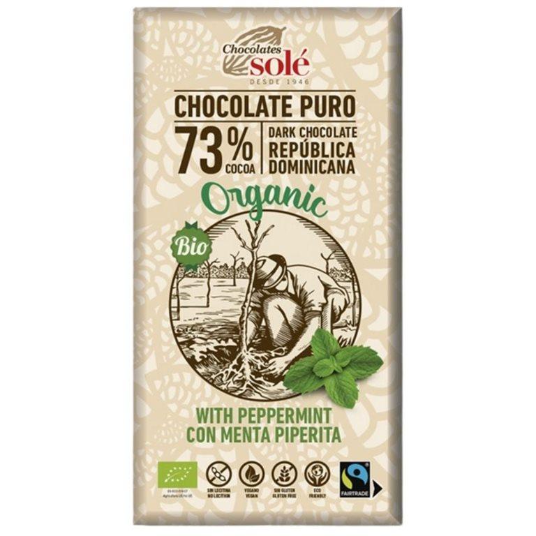 Chocolate Negro 73% Cacao con Menta Bio Fairtrade 100g