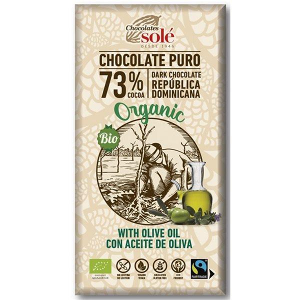 Chocolate Negro 73% con Aceite de Oliva Bio Fairtrade 100g