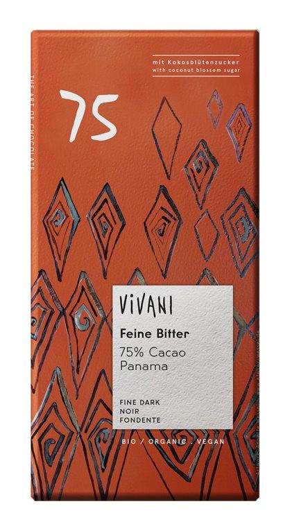 Chocolate Negro 75% Cacao Panamá con Azúcar de Coco Bio 80g