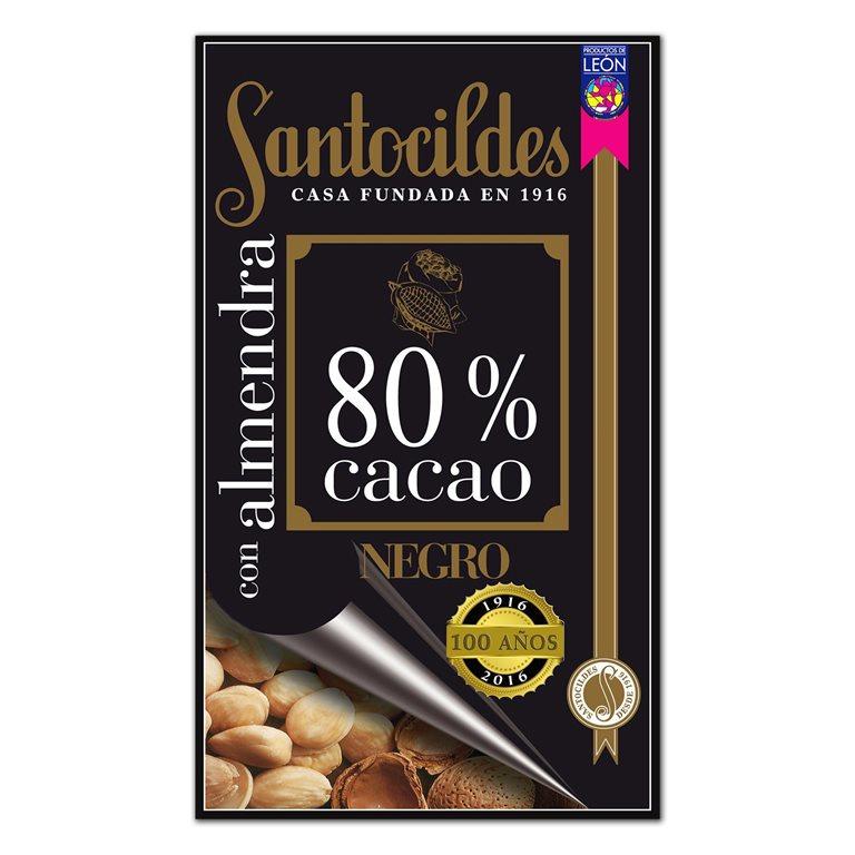 Chocolate Negro 80% Cacao con Almendras 200 grs SANTOCILDES
