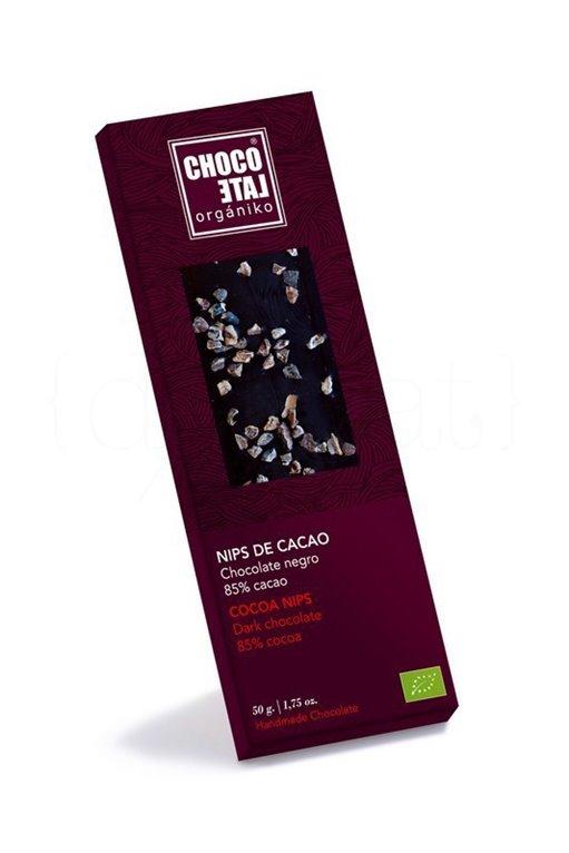Chocolate Negro 85% Cacao con Nibs de Cacao 50g. Chocolate Orgániko. 10un., 1 ud