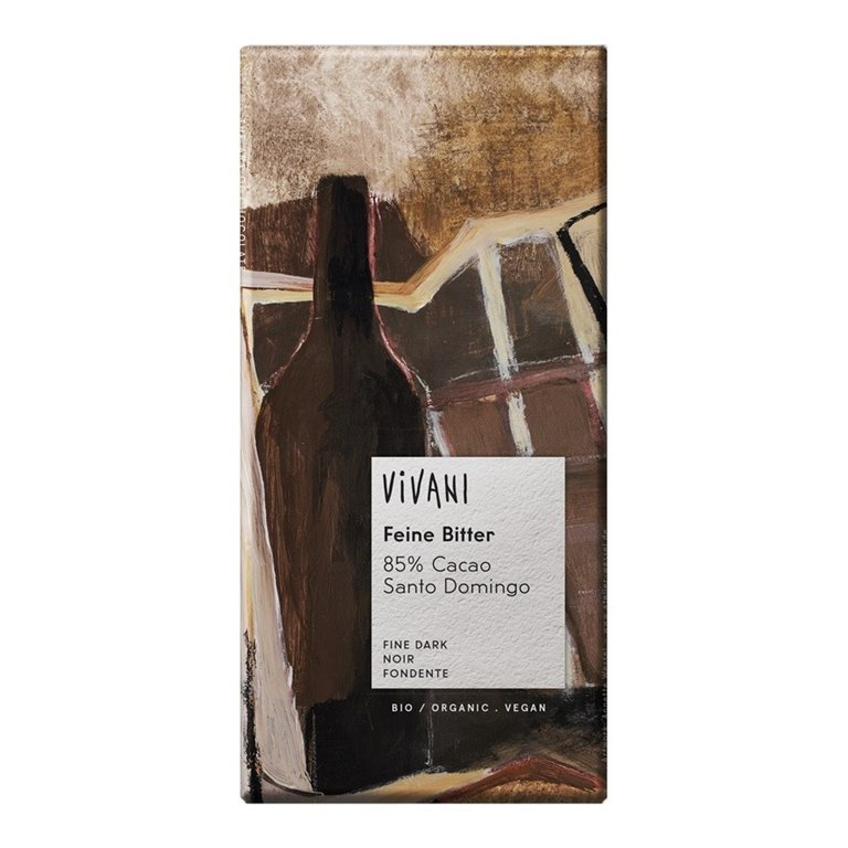Chocolate Negro 85% Cacao Santo Domingo con Azúcar Integral Bio 100g