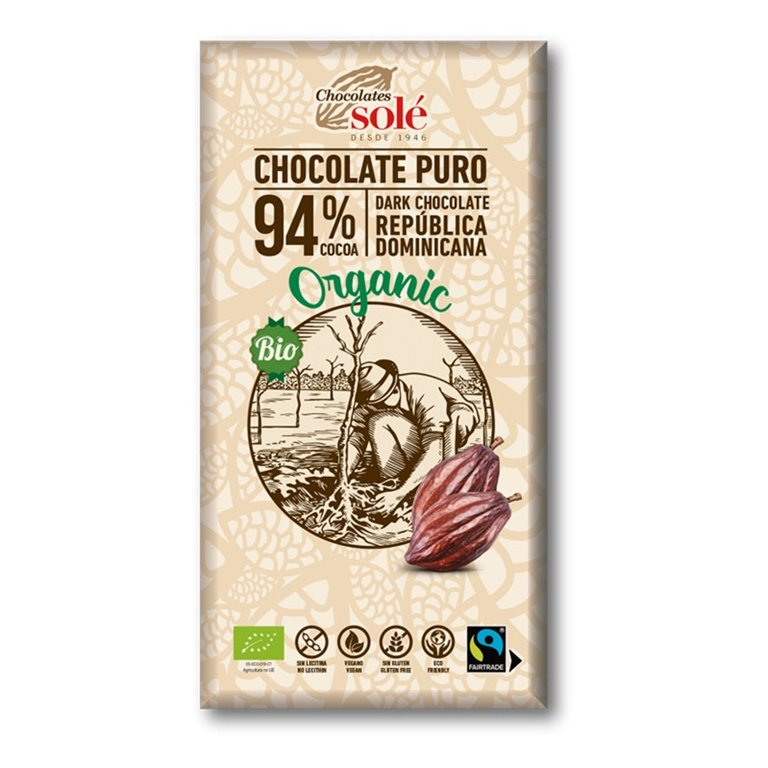 Chocolate Negro 94% Cacao Bio Fairtrade 100g