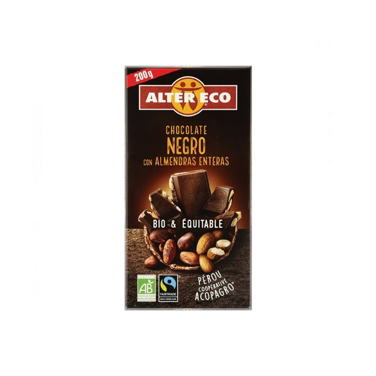 Chocolate Negro con Almendras Enteras Bio Fairtrade 200g