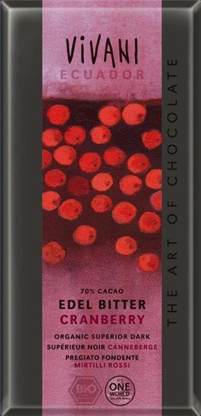Chocolate negro con arándanos rojos trozos