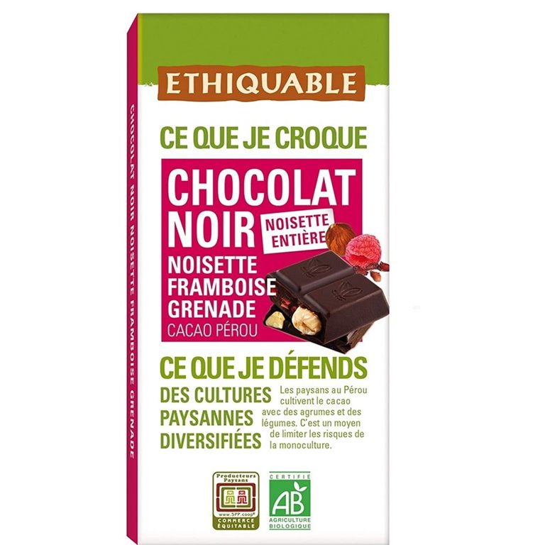 Chocolate Negro Con Avellana Y Frambuesa Bio Fairtrade 100g