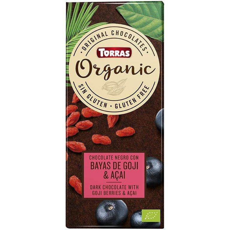 Chocolate Negro con Bayas de Goji y Açai Bio 100g, 1 ud