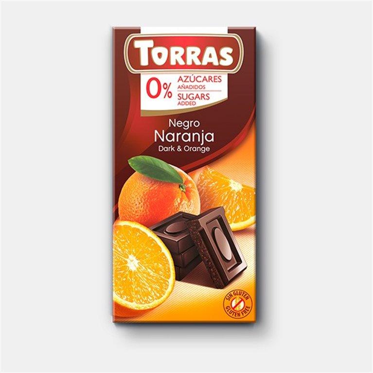 Chocolate negro con naranja Sin Azúcar Torras
