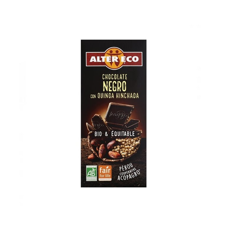 Chocolate Negro con Quinoa Hinchada Bio Fairtrade 100g